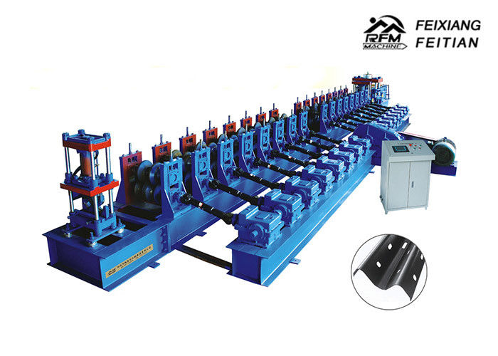 Steel Highway Guardrail Roll Forming Machine PLC Control With 3 - 4mm Thickness